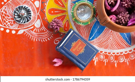 Hindu holy book kept on a decorative background  - Shutterstock ID 1786794359