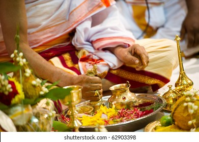 Hindu Indian wedding ceremony in a temple