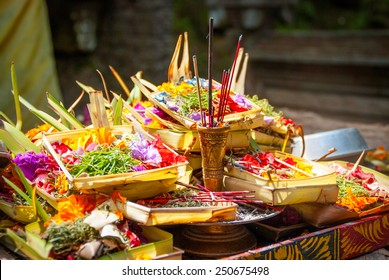 Hindu offerings and gifts to god in the temple in Bali, Indonesia