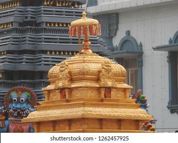 Hindu Padmavathi temple Tower located in Tiruchanur, Tirupathi, Tirumala, India, Hindu Religious Heritage Gopuram Architecture