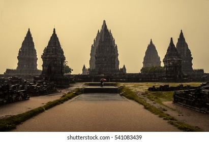 Hindu Prambanan temple complex during the rainy season - Java, Indonesia