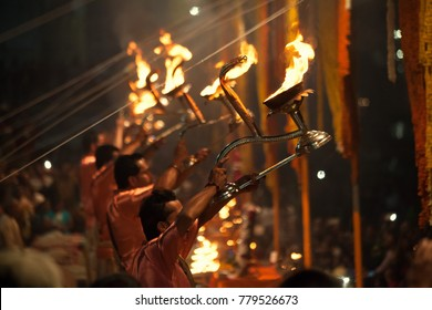 Hindu priests perform an Arti worship ceremony at  Ganges River, Varanasi, Uttar Pradesh, India