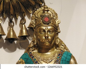 Hindu Religion God Hanuman Metalic Idol. Made of made of five metals in Sanskrit language it called Panchaloha.