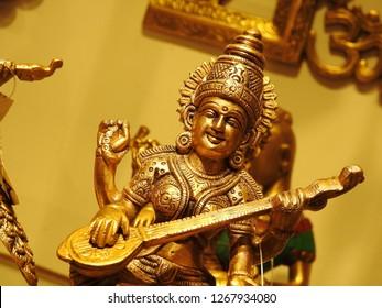 Hindu Religion Goddess Saraswathi Idol. Made of made of five metals in Sanskrit language it called Panchaloha.