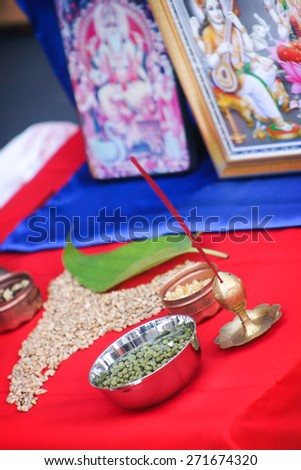 Hindu Religion Items Ready Ritual Mother Stock Photo (Edit Now