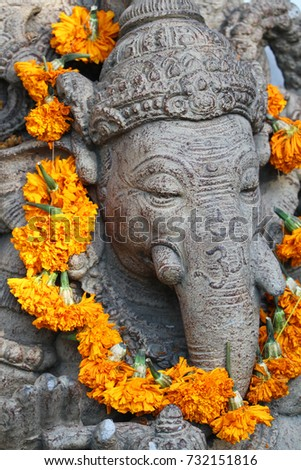 Hindu Religious Elephant Sculpture Ceremonial Orange Stock Photo