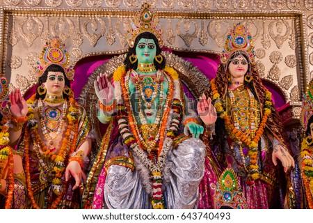 Hindu Religious Festival Dussehra Shri Ram Darbar Lord Rama Along With Wife Sita Brother
