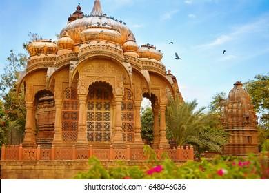 Hindu Royal Cenotaph of one of Jodhpur Maharajas, built in 17th century in Mandor Gardens, Jodhpur, Rajasthan, India.