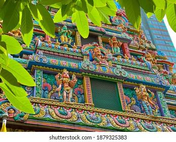 Hindu temple , Bangkok Thailand. Take photo by mobile phone camera