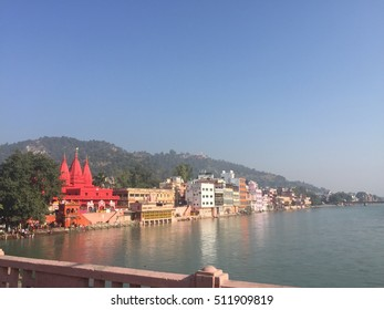 Hindu temple in Haridwar on the river Ganges in north India.