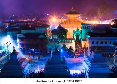 Hindu temple Pashupatinath at night light, Votive temples and shrines in a row at Pashupatinath Temple Kathmandu Nepal.