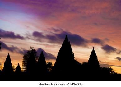 Hindu temple Prambanan. Indonesia, Java, Yogyakarta with dramatic sky
