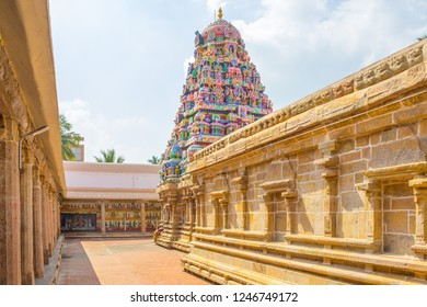 Hindu temple tower view at Ramaswamy temple, Kumbakonam, Tamilnadu, India. A very famous temple in south india and this temple welcomes number of devotees during festival season.