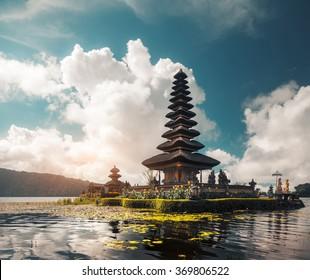 Hindu temple Ulun Danu Bratan on the lake of Bratan. Bali, Indonesia