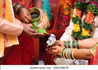 Hindu wedding ceremony. Details of traditional indian wedding. Beautifully decorated hindu wedding accessories. Indian marriage traditions.