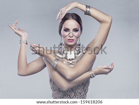 Hindu woman with four arms