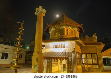 Hinduism Temple at evening. Yelow  color. In Gokarna district ,  India. Moon
