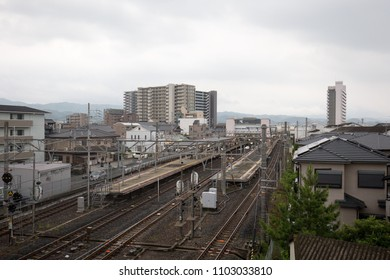 Hineno, Japan - May 31, 2018: Japan Railways station platforms divide the small town of Hineno