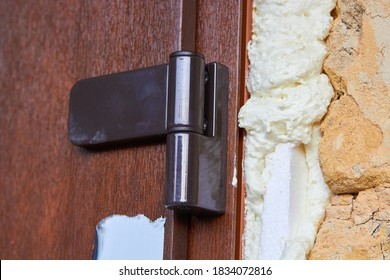 hinge on plastic door,close up of plastic door with hinged door