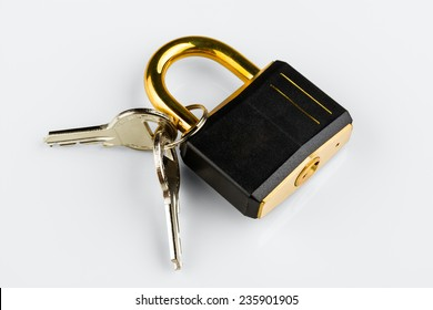 hinged lock with keys on white background