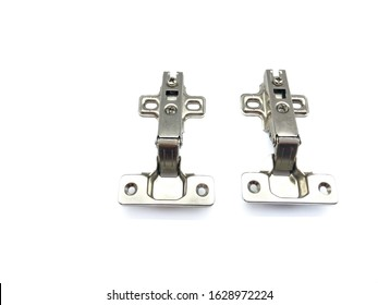 Hinges isolated on a white background. Composition loop for construction. Hinges for doors, furniture. Set of metal loops. Metal hinges.