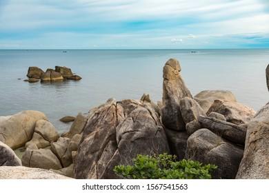 Hinta Hinyai amazing stones of Lamai beach Koh samui Thailand. Hin ta Hin Yai stones of Lamai beach Samui island Thailand, landmark Koh Samui island.