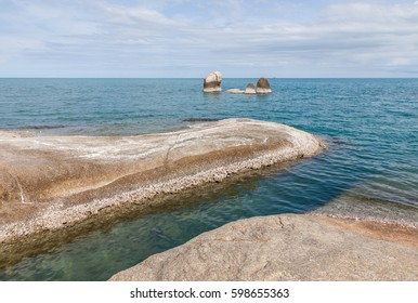 Hinta Hinyai (grandfather and grandmother rocks) natural creation rocks the famous landmark in Koh Samui, southern of Thailand,