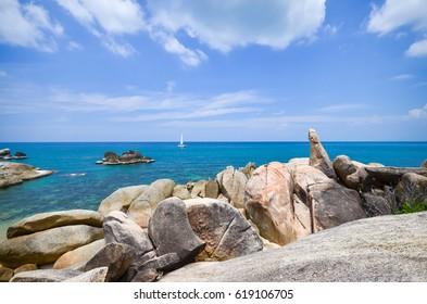 Hinta Hinyai stones of Lamai beach Samui island Thailand, landmark of Samui island.