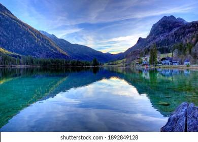 Hintersee lake at the bavarian alps