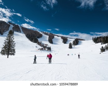Hinterstoder, Austria, March 30: ski slopes and skiers in Hinterstoder. March 30,2018.