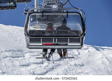 Hintertux, Austria - March 28, 2015: Ski lift in the ski region of the Hintertuxer Glacier (Tuxer Ferner) in Tyrol, Austria to the top of the mountain