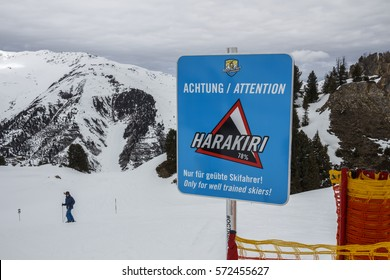 Hintertux, Austria - March 29, 2015: Sign of a black piste at the Horberg mountain (Harakiri route 34) in the ski region of the Hintertuxer Glacier (Tuxer Ferner) in Tyrol, Austria