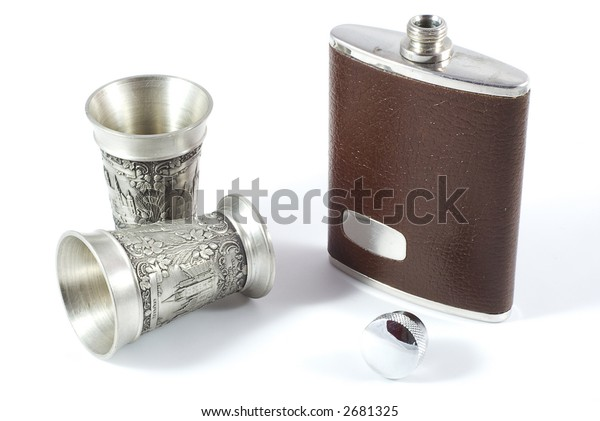 hip flask and pewter cups
