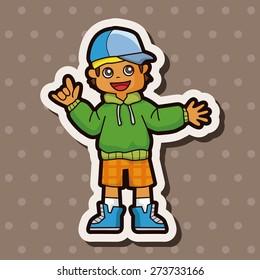 hip hop dancer , cartoon sticker icon