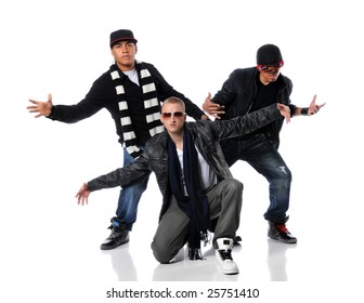 Hip Hop style men dancing over a white background