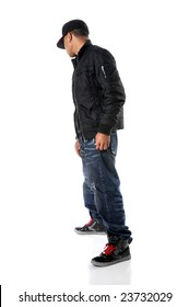 Hip hop young man standing isolated over a white background