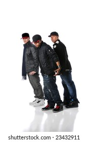 Hip hop young men performing a dance isolated over a white background