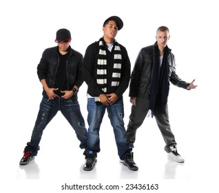 Hip Hop young men standing isolated over a white background