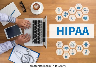 HIPAA Professional doctor use computer and medical equipment all around, desktop top view, coffee
