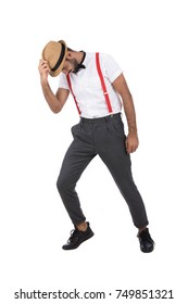 hiphop dancer posing a moon walk. Isolated on white  background.
