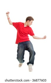 hip-hop guy dancing. isolated on white