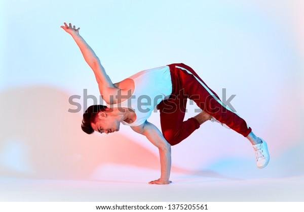 Hiphop Korean Break Dancer Red Sweat Stock Photo (Edit Now