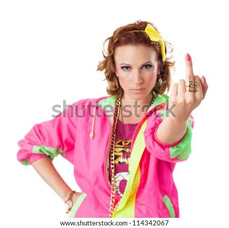 Hiphop Style Female Middle Finger Roll Stock Photo Edit Now