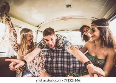 Hippie friends having fun