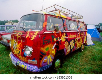Hippie Van at the 25th Anniversary of the Woodstock music festival on the Winston Farm in Saugerties, New York, August 12, 1994.