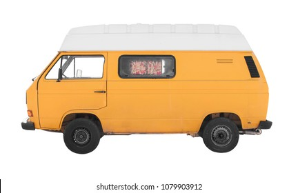 hippie yellow caravan isolated against white background