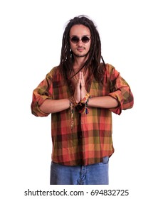 Hippies with dreadlocks showing emotions