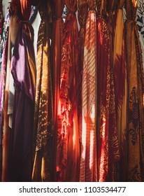 hippies typical fabrics and bandanas, in hippy market of Ibiza, Spain