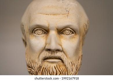 Hippocrat statue bust front portrait, ancient greek doctor