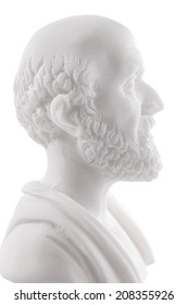 Hippocrates (460-380 B.C.E.) Ancient Greek physician, traditionally regarded as the father of medicine. Sculpture isolated on white background